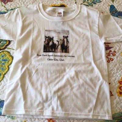 Kid's T-Shirt with Dust Devil Ranch Sanctuary for Horses Print